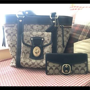 Coach Signature Legacy tote & wallet set